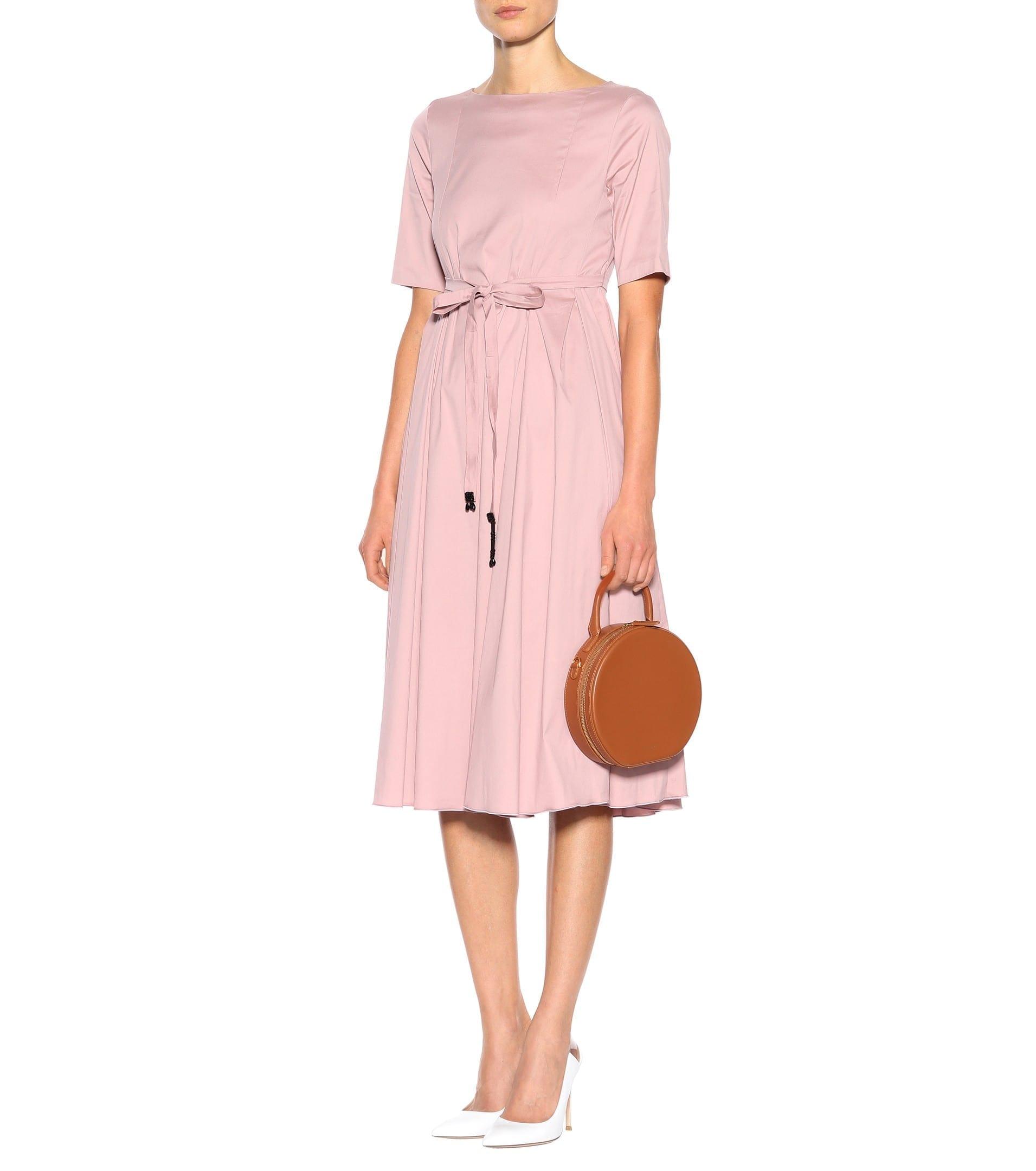 5aab4039d9d S MAX MARA Eraclea Poplin Midi Blush Dress - We Select Dresses