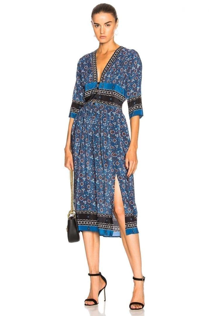 SEA Slit Maxi Blue / Multicolored Dress