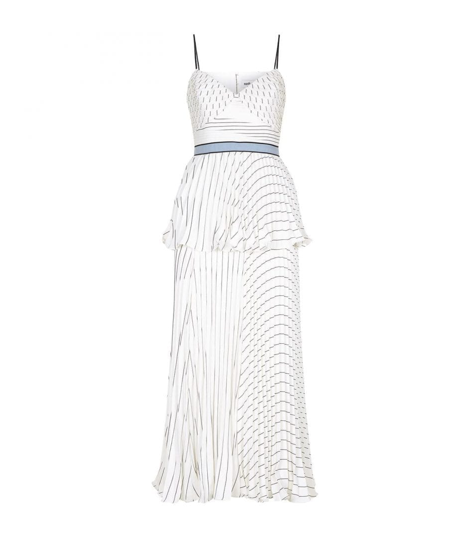 16d757320aa4 SELF PORTRAIT Pleated Striped Midi White Dress - We Select Dresses
