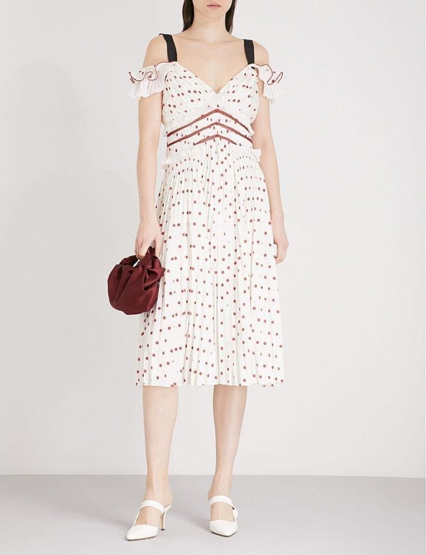 SELF-PORTRAIT Polka Dot Cold-shoulder Satin Midi Cream Dress - We ...