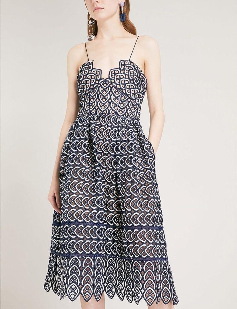 3473ef0bb75b SELF-PORTRAIT Sweetheart Azaelea Crochet Lace Midi Navy / White Dress