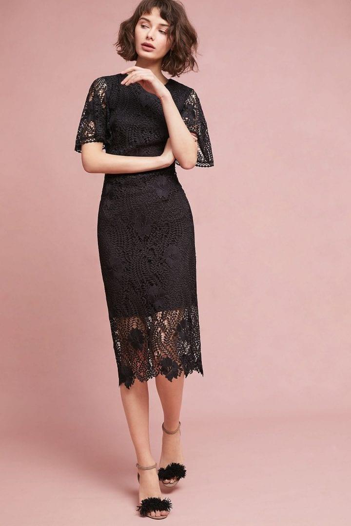 SHOSHANNA Aragon Midi Black Dress