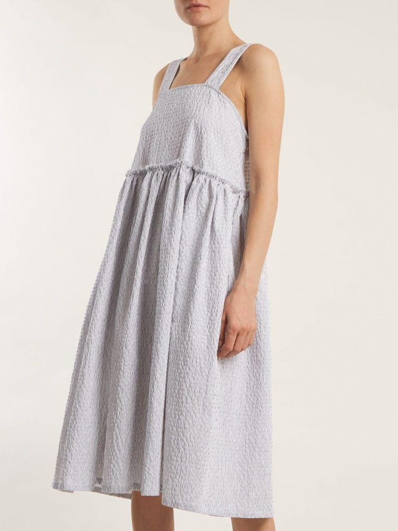 SHRIMPS Lucia Strappy Seersuker Cotton Blend White Black Dress