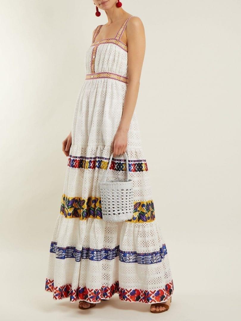 STELLA JEAN Four-tier Laser-cut White Dress