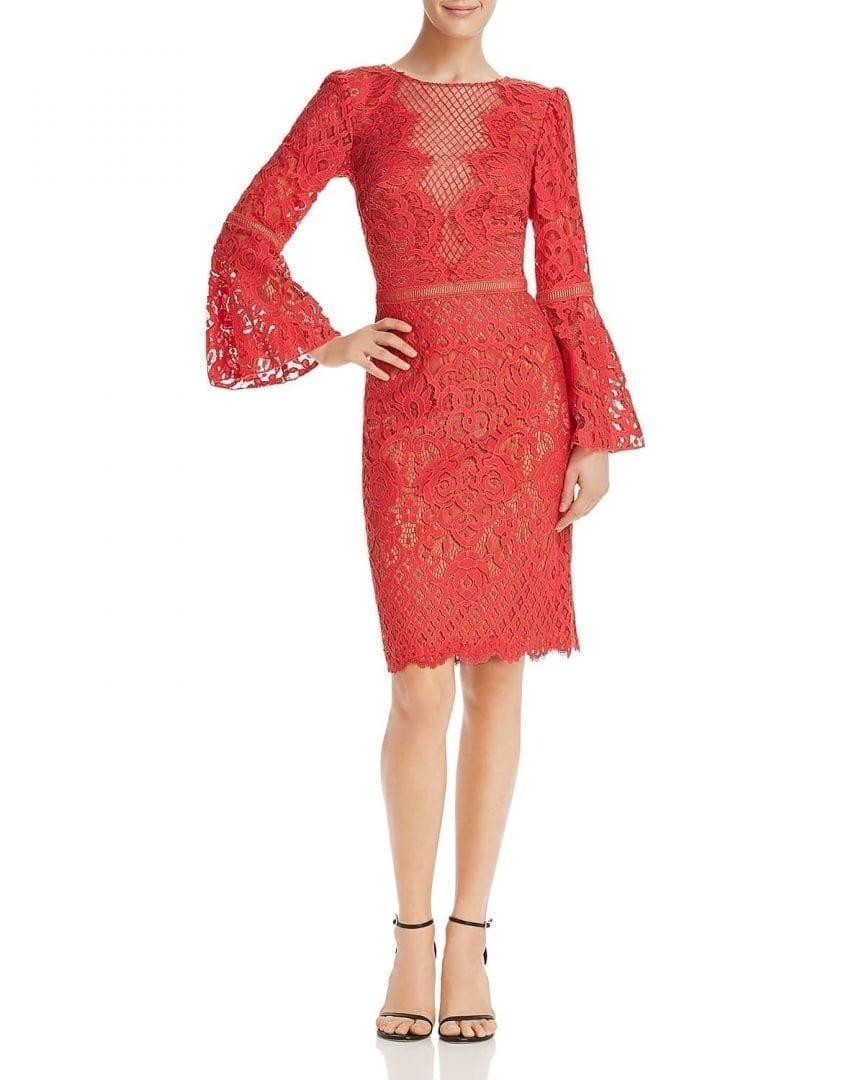 TADASHI SHOJI Bell-Sleeve Lace Red Jasper Dress