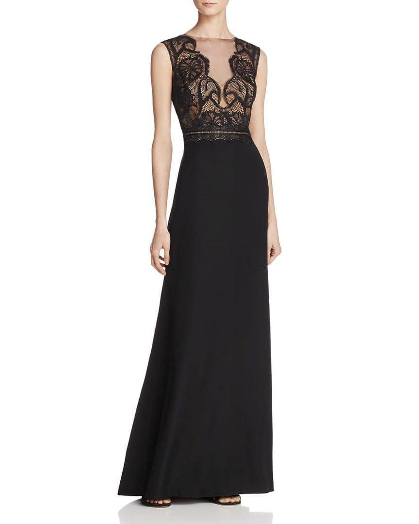 TADASHI SHOJI Illusion Lace-Bodice Black / Nude Gown - We Select Dresses