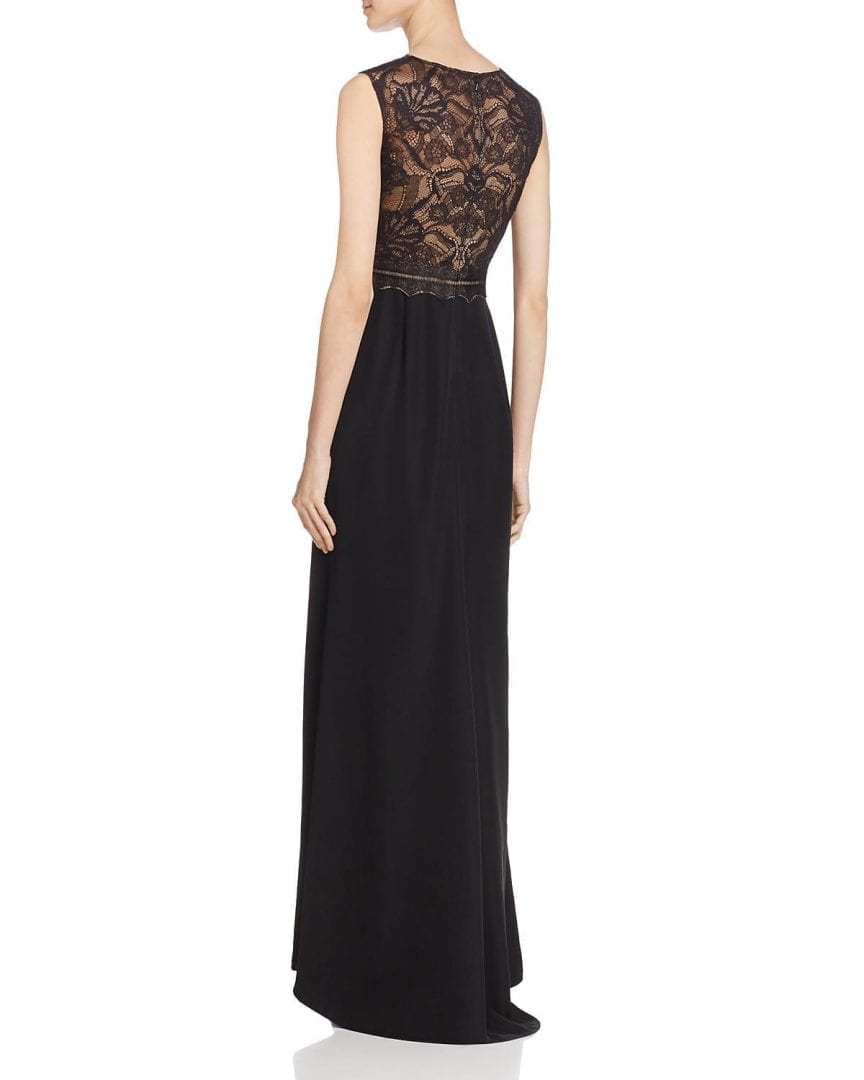 TADASHI SHOJI Illusion Lace-Bodice Black / Nude Gown - We Select Dresses