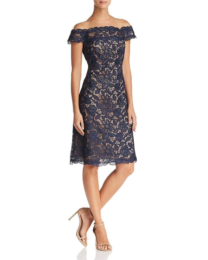 17770a4b0f18 TADASHI SHOJI Illusion Off-the-Shoulder Nude   Navy Blue Lace Dress ...