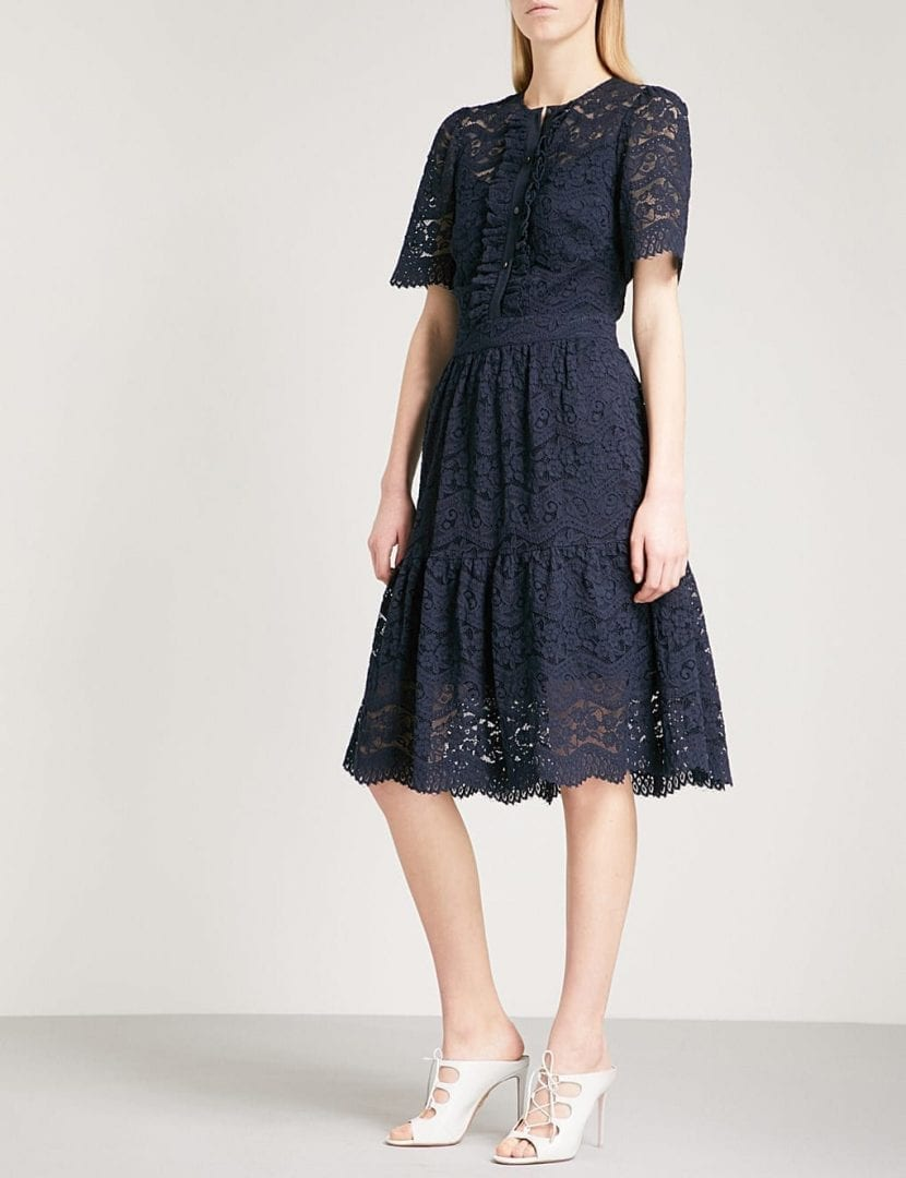 Temperley London Lunar Fit And Flare Lace Midnight Dress