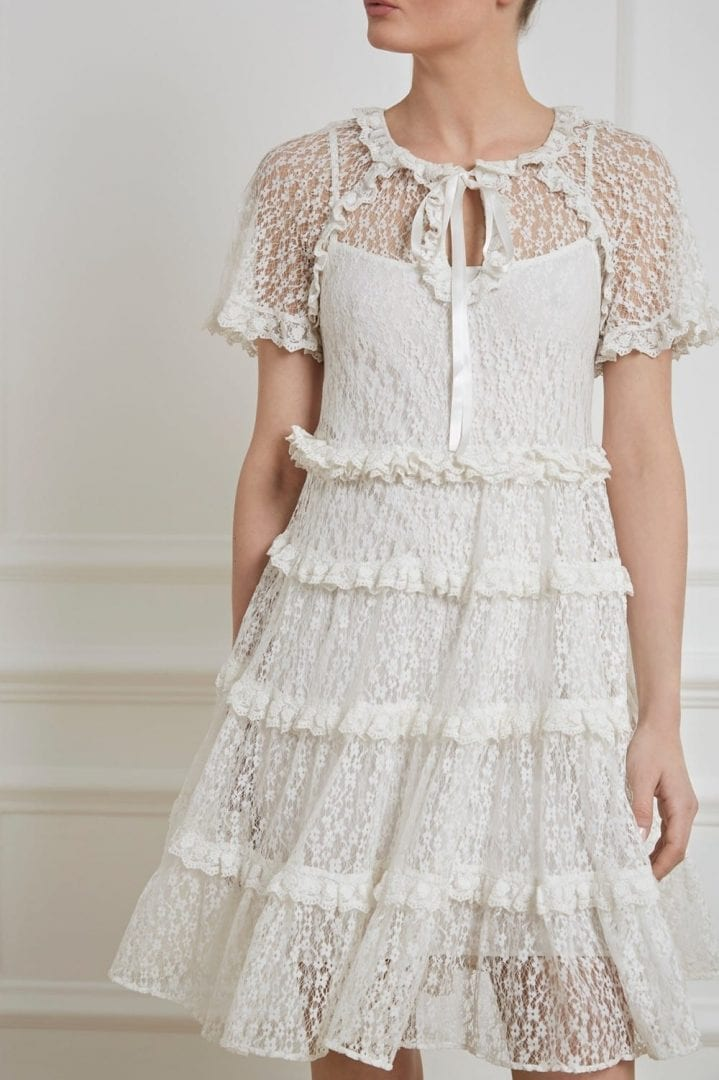 c23f2d347 NEEDLE   THREAD Tiered Daisy Lace White Dress - We Select Dresses