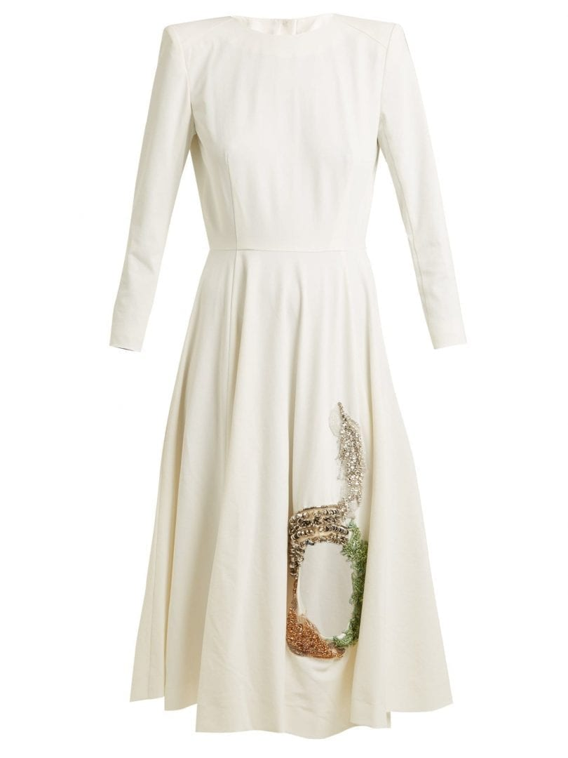 TOGA Embellished Cut Out Stretch Crepe White Dress - We Select Dresses