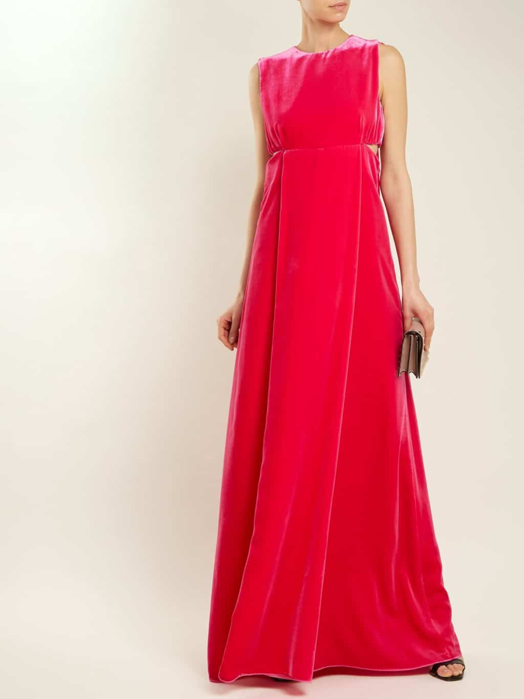 VALENTINO Cut Out Sleeveless Velvet Cerise Pink Gown