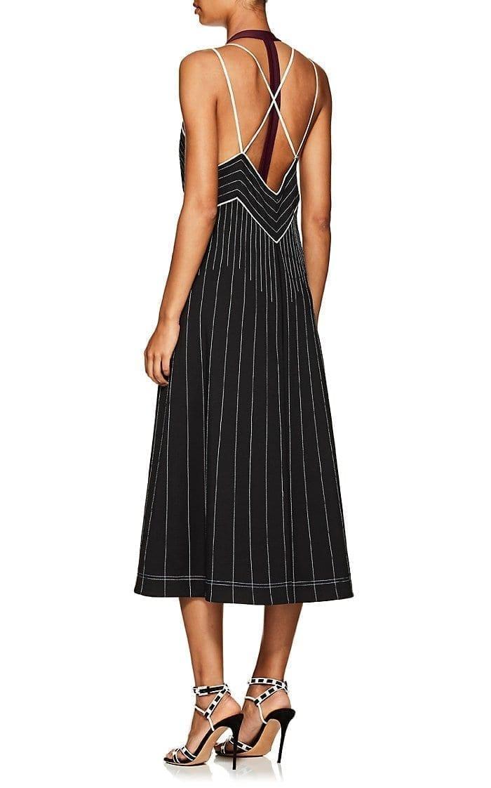VALENTINO Striped Tech Jersey Halter Midi Black Dress - We Select ...
