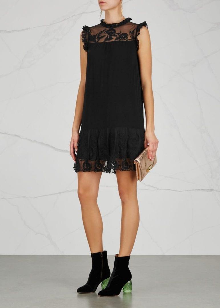 26a022e3e0f VELVET BY GRAHAM   SPENCER Marsh Embroidered Black Dress