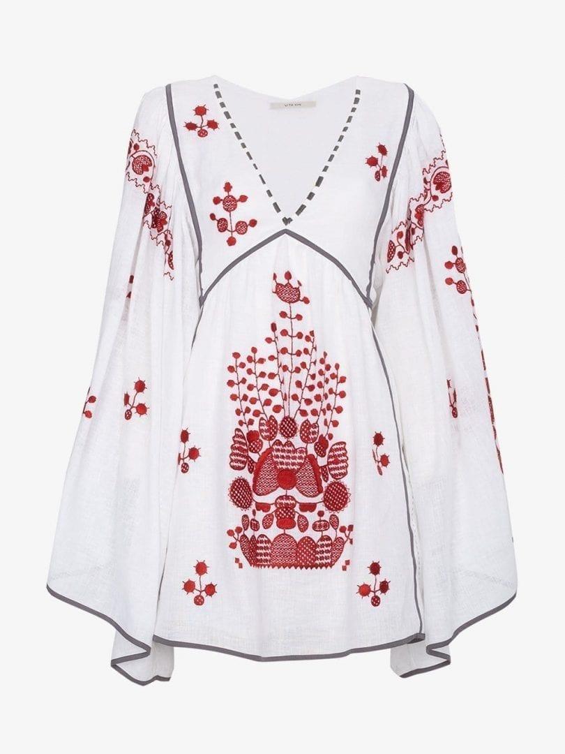 VITA KIN Peacock Linen Mini White Dress