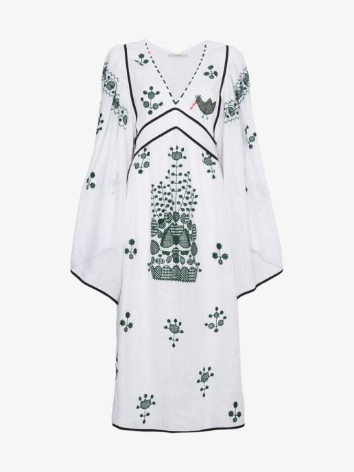 VITA KIN Peacock Motif Linen White Dress