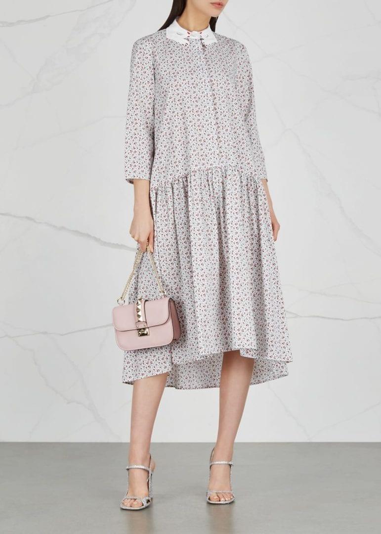 VIVETTA Mirfak Poplin White / Floral Printed Dress
