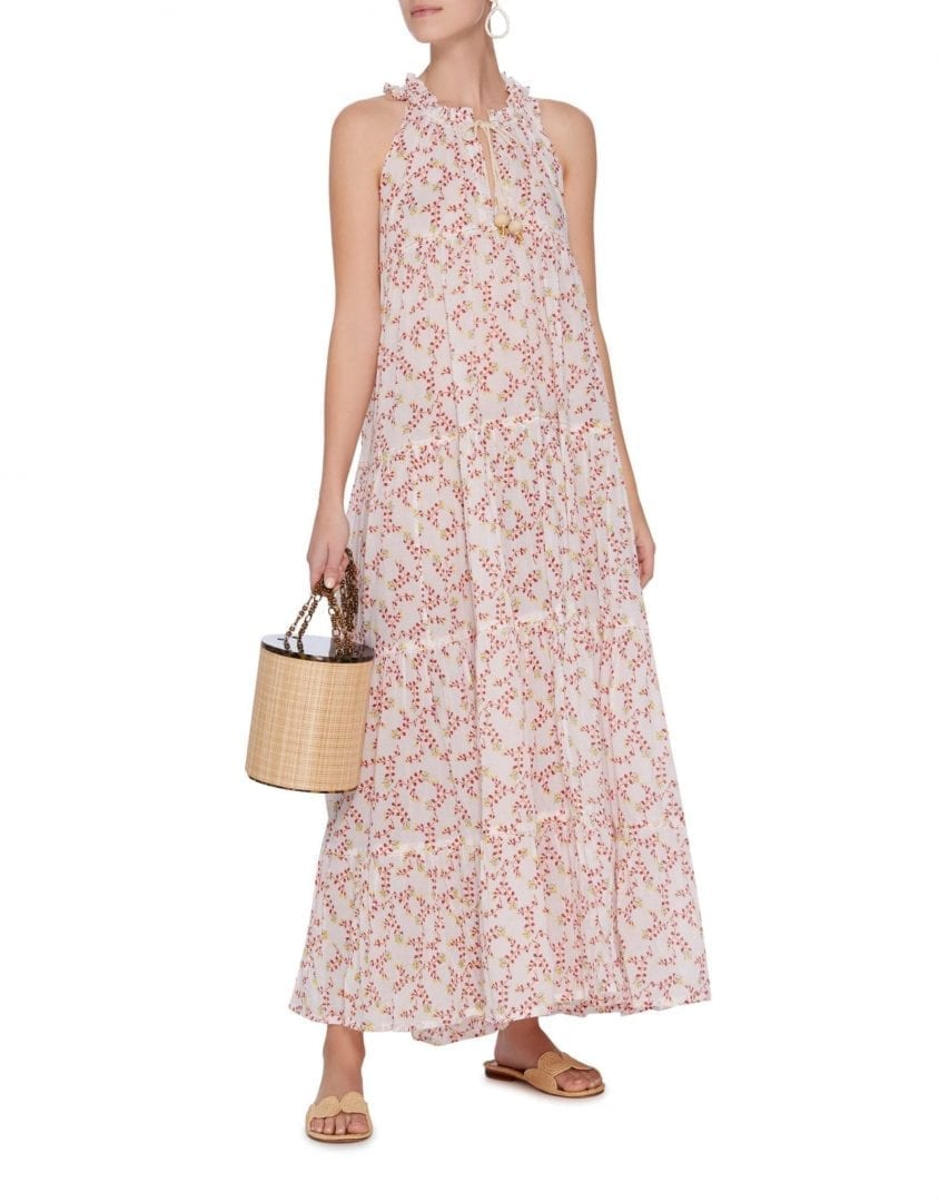 YVONNE S Cotton Voile Maxi White / Floral Printed Dress