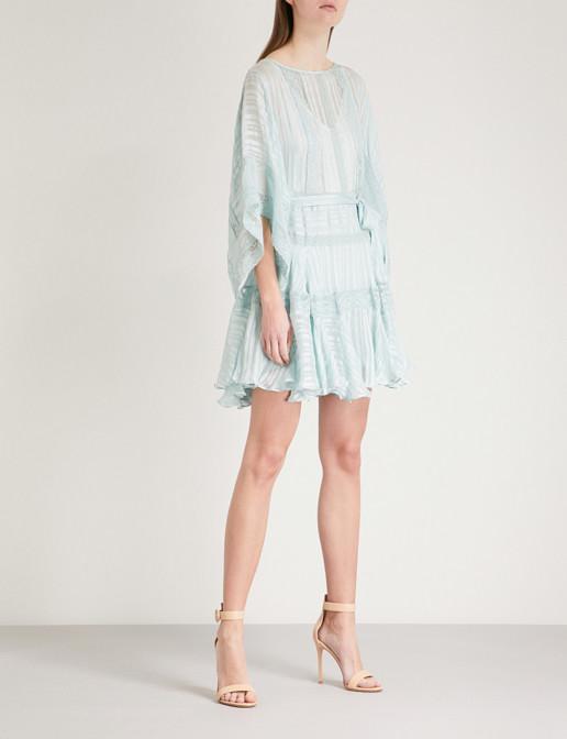 ZIMMERMANN Whitewave Veil Silk Satin Mini Seafoam Dress