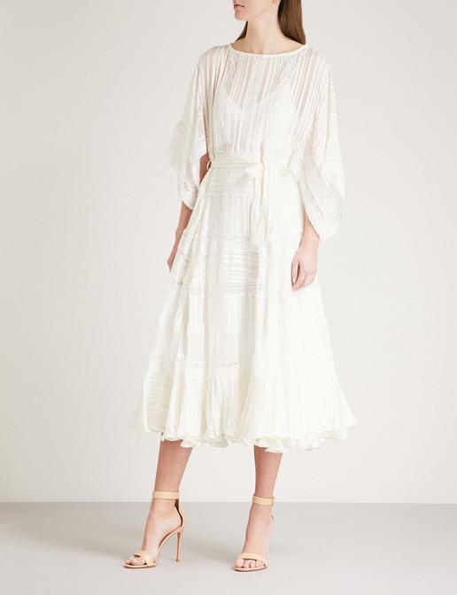 ZIMMERMANN Whitewave Veil Striped Silk-Satin Cream Dress