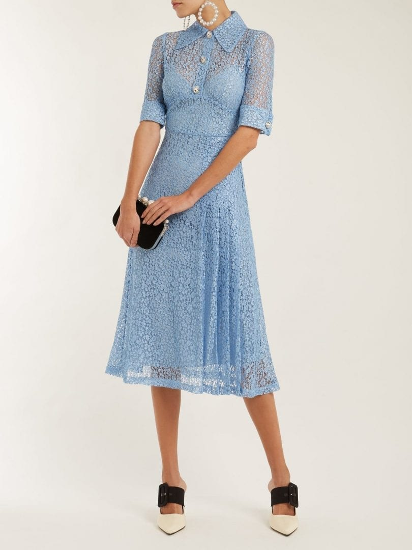 ALESSANDRA RICH Infermiera Floral Lace Cornflower Blue Dress