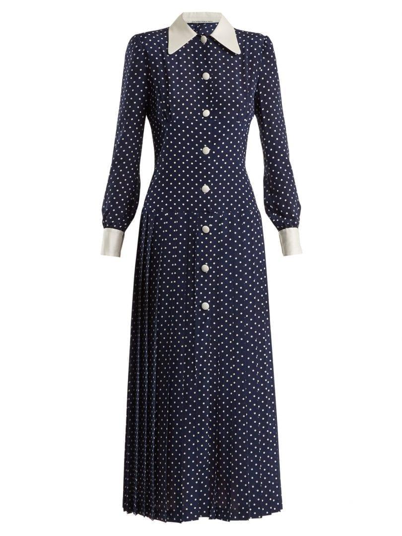 Alessandra Rich Polka Dot Crepe De Chine Navy Dress We