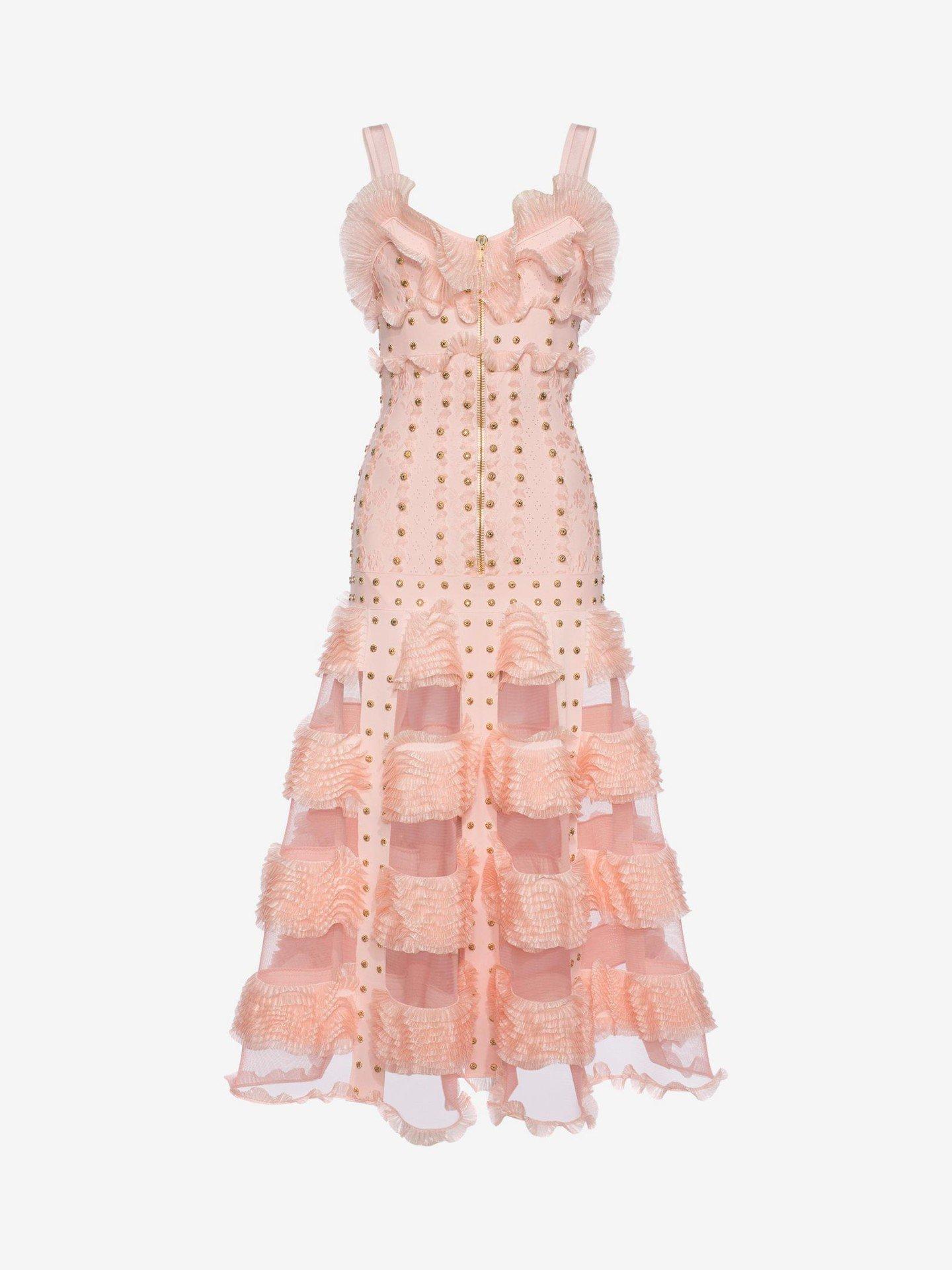 ALEXANDER MCQUEEN Cage Ruffle knitted Long Tint Pink / Gold Dress