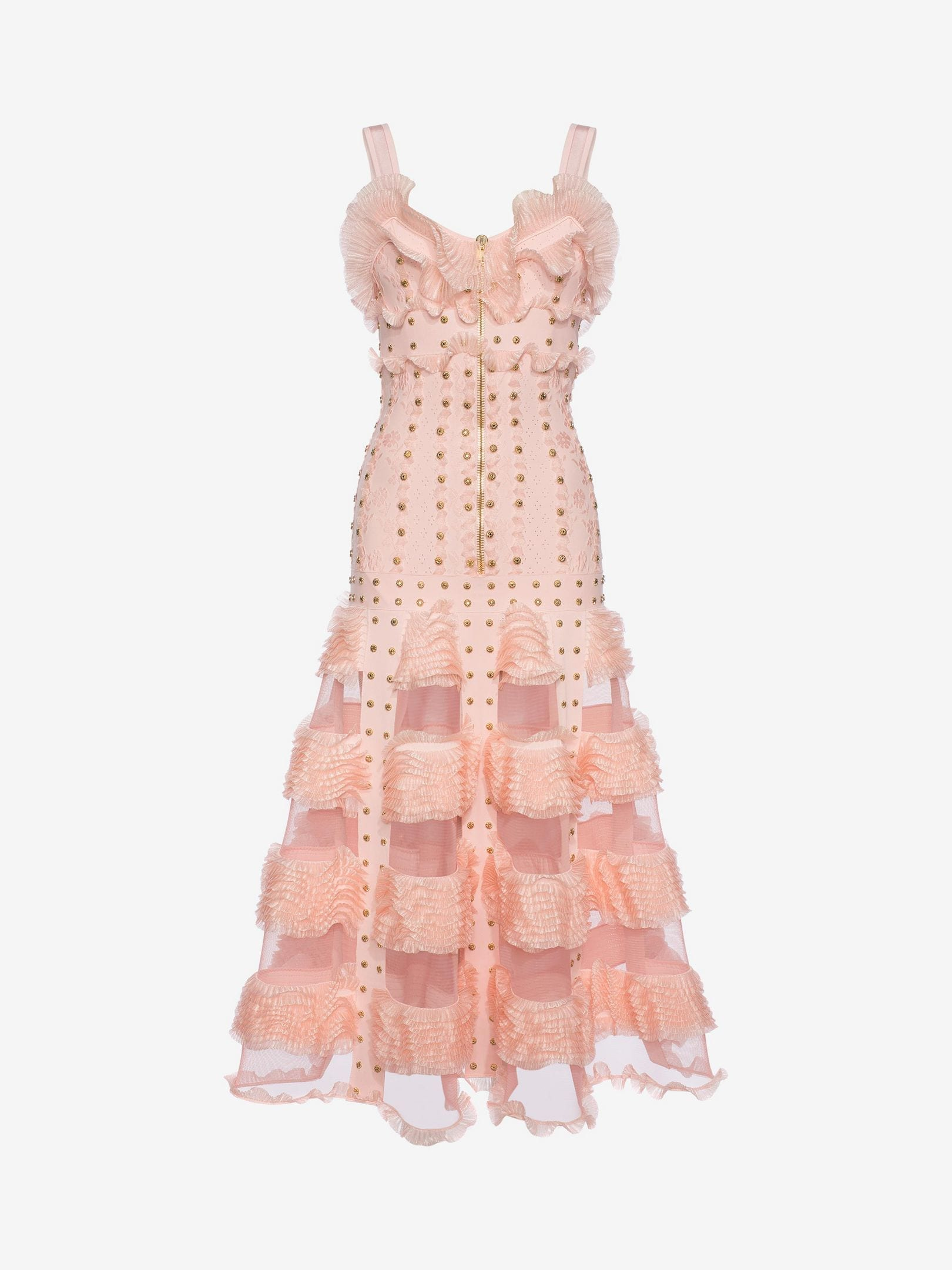 ALEXANDER MCQUEEN Cage Ruffle knitted Long Tint Pink / Gold Dress