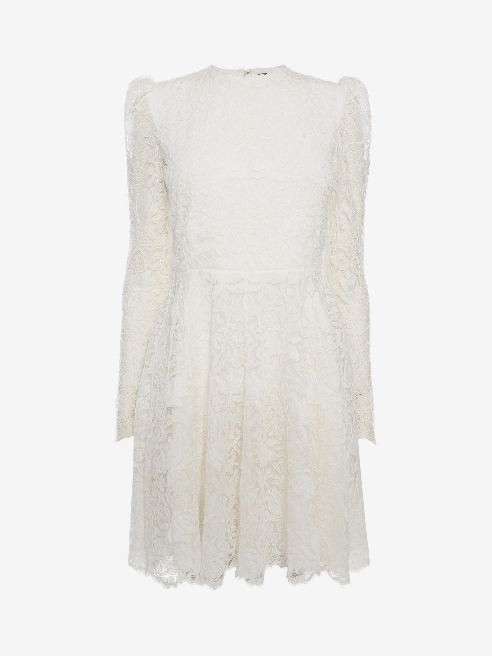 ALEXANDER MCQUEEN Cape Back Mini Lace Ivory Dress