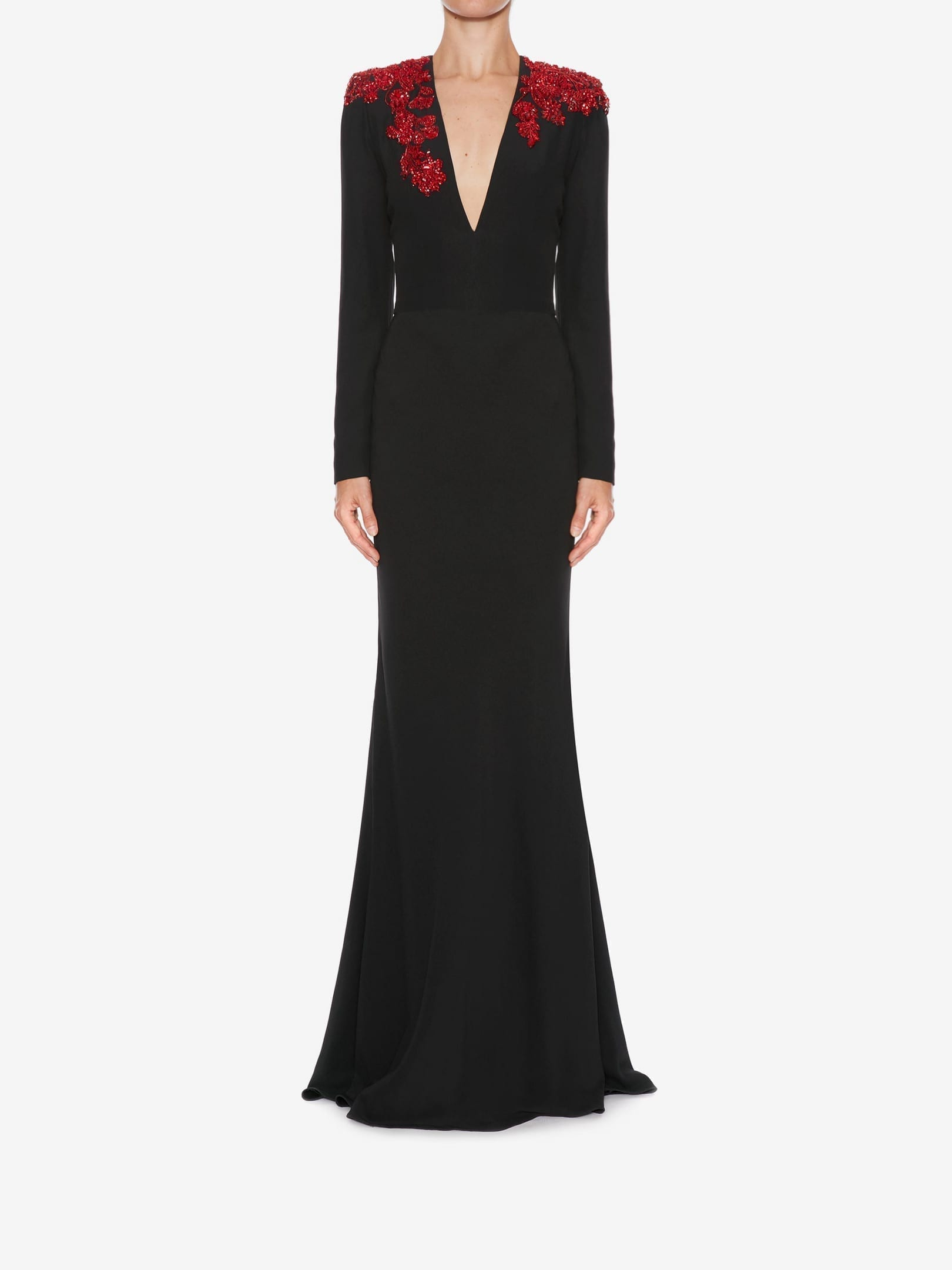 ALEXANDER MCQUEEN Cluster Embroidered Long Black Dress ...