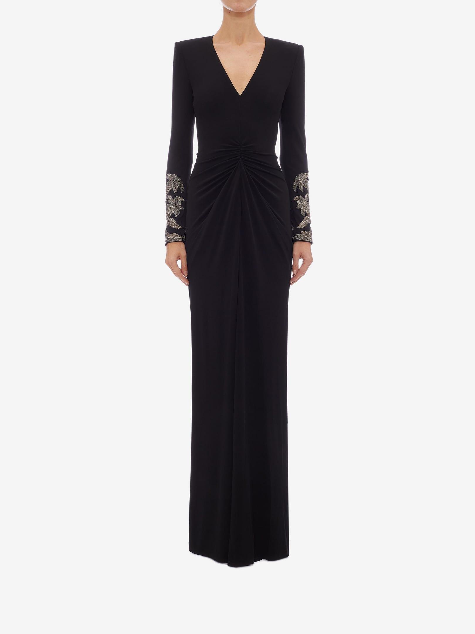 ALEXANDER MCQUEEN Embroidered Evening Black Dress - We ...