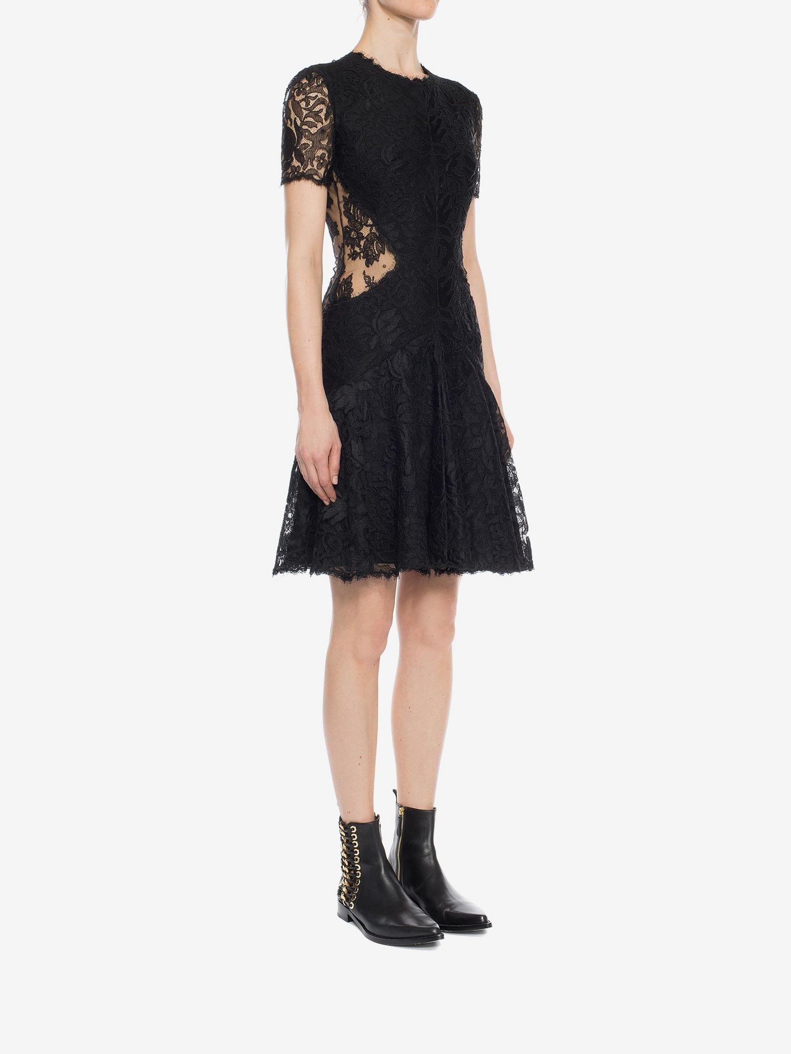 ALEXANDER MCQUEEN Lace Mini Black Dress - We Select Dresses