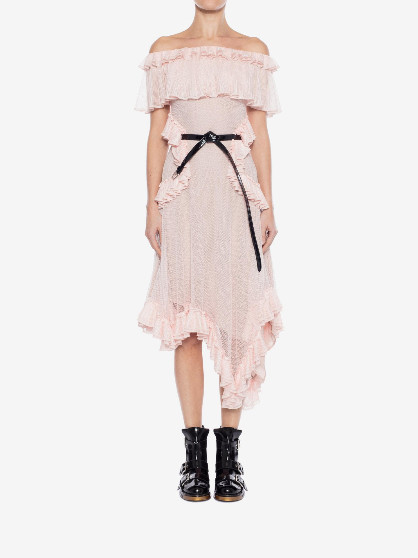 ALEXANDER MCQUEEN Off The Shoulder Lace Knit Ruffle Mini Rose Pink Dress