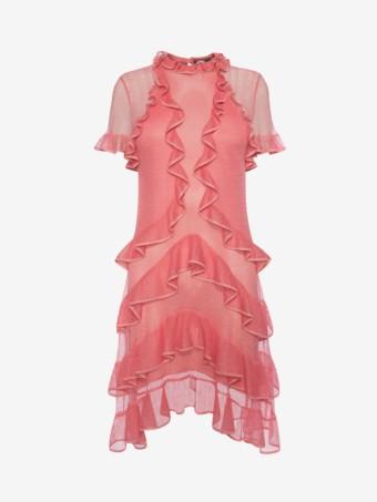 d69da26140 ALEXANDER MCQUEEN Short Sleeve Lace Knit Ruffle Mini Flower Bed Pink Dress