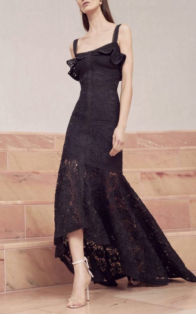 ALEXIS Vicenzo Lace Black Gown