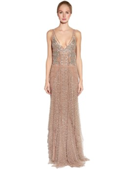AMEN COUTURE Embellished Stretch Tulle Nude Gown
