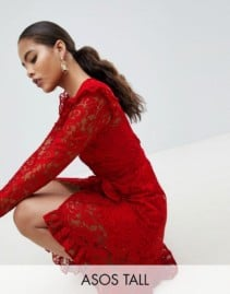ASOS DESIGN Asymmetric Hem With Tall Wrap Lace Red Dress