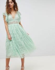 ASOS DESIGN Frill Sleeve Lace Prom Midi Mint Dress