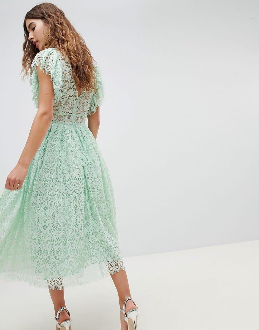 Asos Design Frill Sleeve Lace Prom Midi Mint Dress