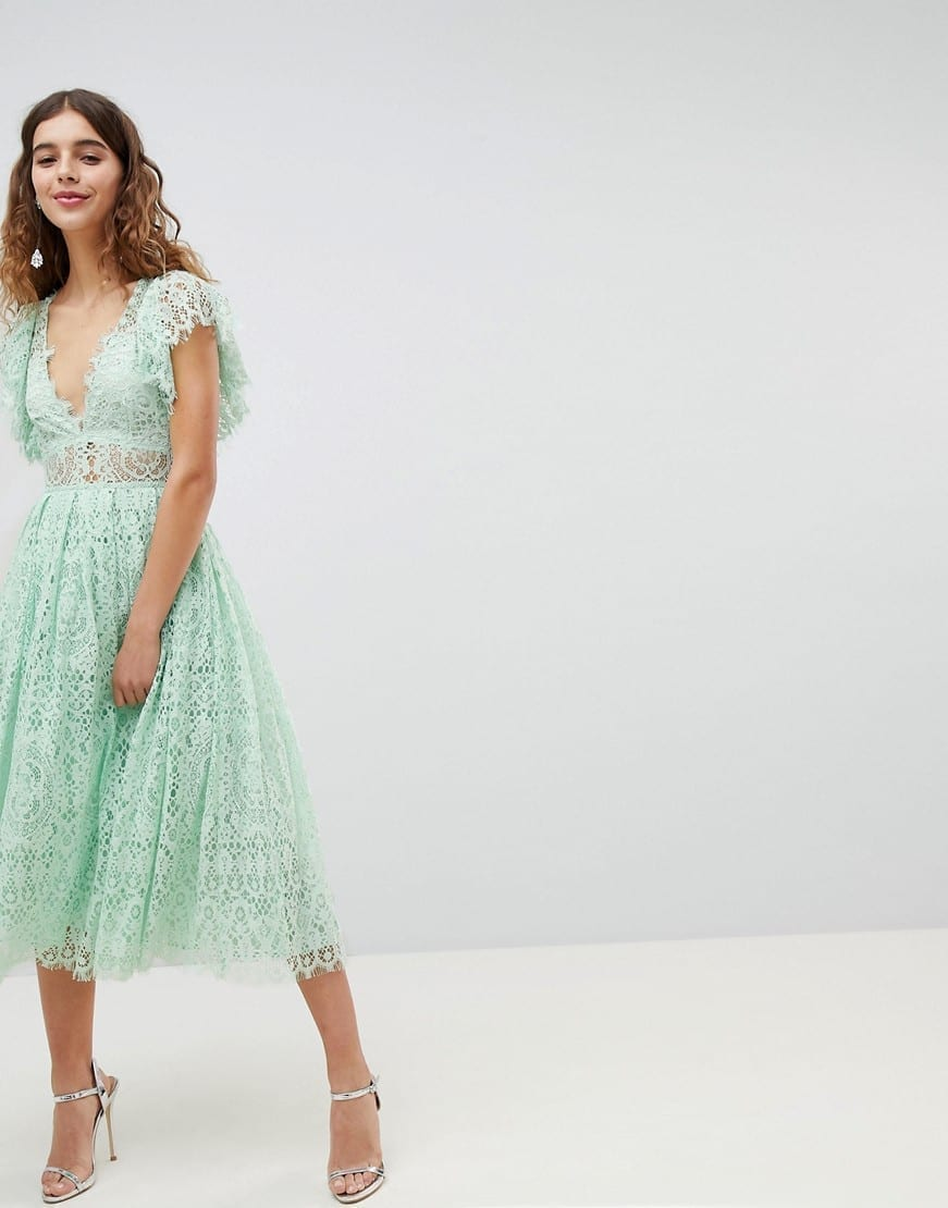 Asos Design Frill Sleeve Lace Prom Midi Mint Green Dress