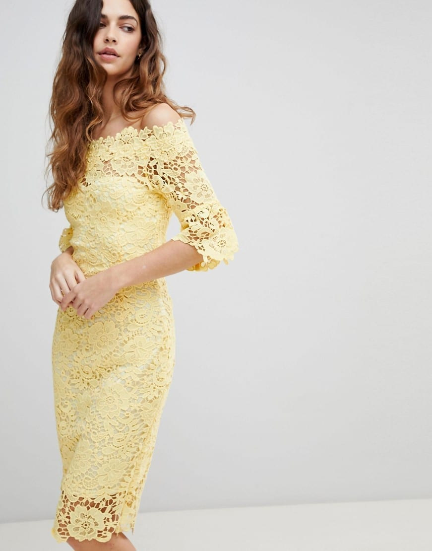 PAPER DOLLS Frill Sleeve With Off Shoulder Crochet Yellow Dress