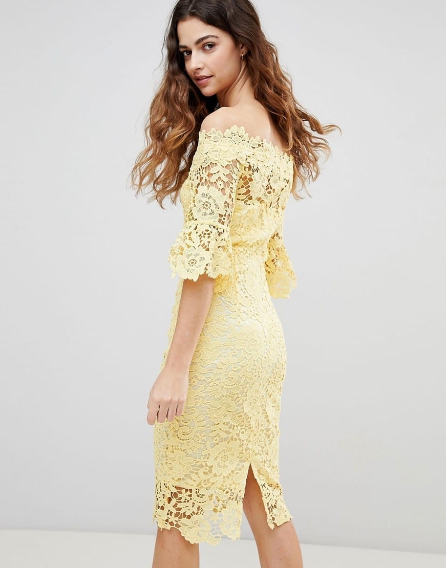 Paper Dolls Frill Sleeve With Off Shoulder Crochet Yellow Dress We