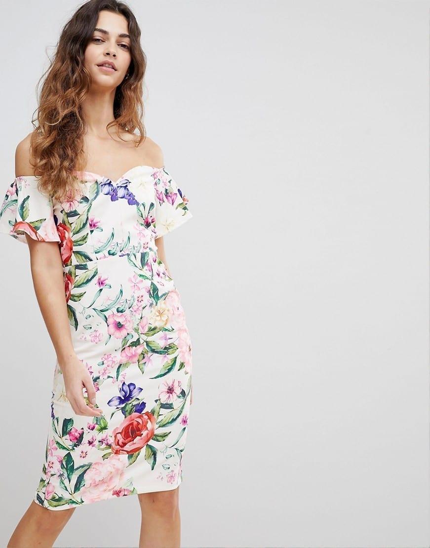ASOS Paper Dolls Bardot Ruffle Sleeve Pencil Multi / Floral Printed Dress