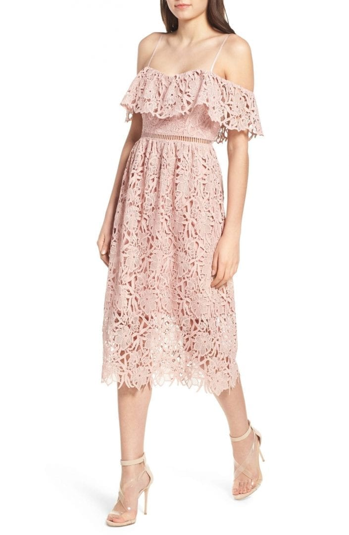 ASTR THE LABEL Lace Off the Shoulder Midi Blush Dress