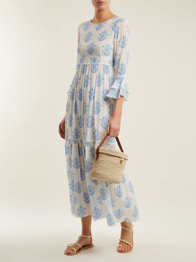 ATHENA PROCOPIOU Vagabond Silk White / Floral Printed Dress