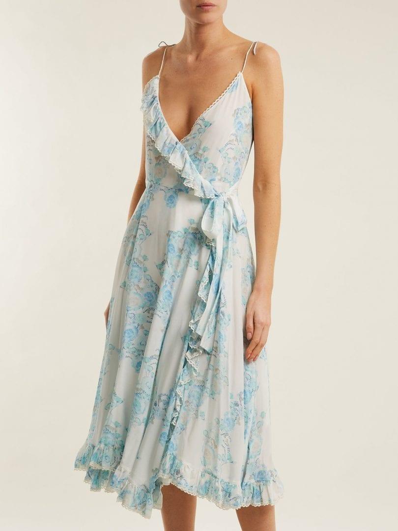 ATHENA PROCOPIOU Walking On A Dream Silk Wrap White / Floral Printed Dress