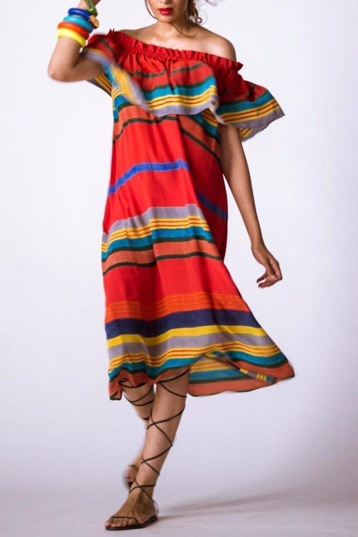 BANDRA Sindoor Stripe Red / Multicolored Dress