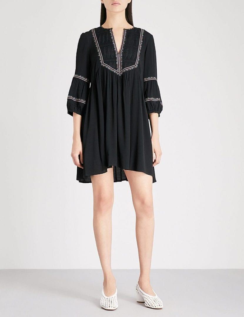 BA&SH Tale Embroidered Crepe Mini Black Dress