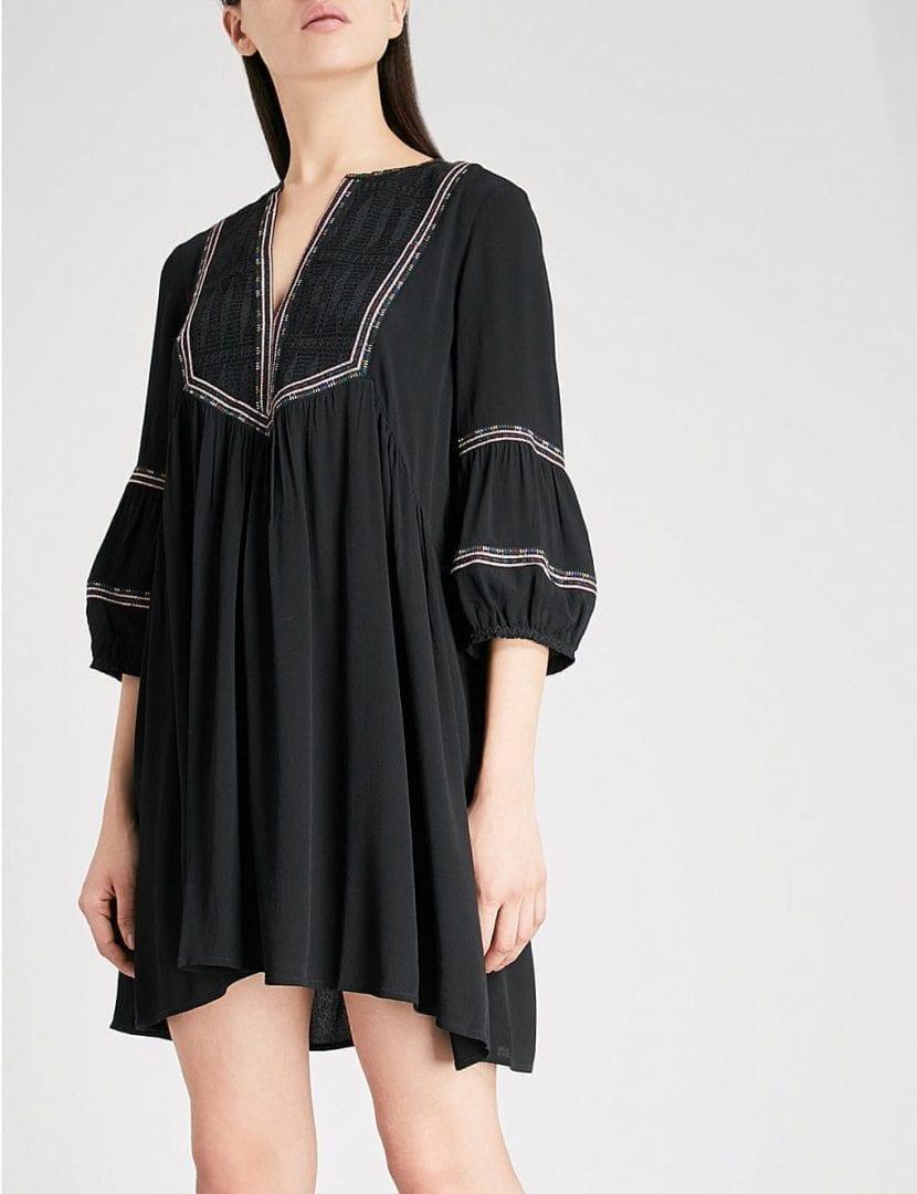 Ba Amp Sh Tale Embroidered Crepe Mini Black Dress We Select
