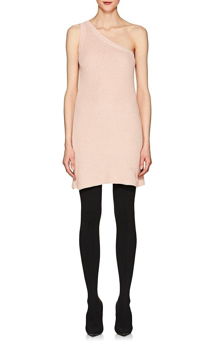 fc77d5ad BEN TAVERNITI UNRAVEL PROJECT Cotton-Cashmere One-Shoulder Mini Light Pink  Dress